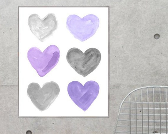 Purple and Gray Hearts Poster, 12x16, 16x20