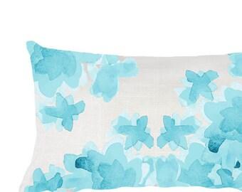Aqua Nursery Pillow, 12x20, Aqua Throw Pillow, Aqua Floral Pillow, Aqua Bedroom Pillow, Aqua Pillow, Aqua Accent Pillow, Turquoise Pillow