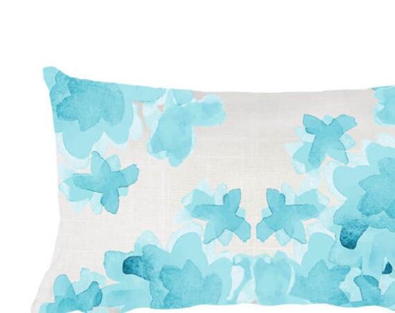 "Aqua Flowers Nursery Pillow, 12""x20"""