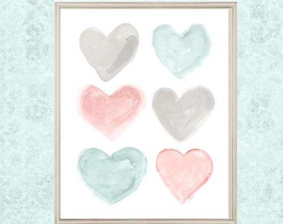 Teal and Blush Girls Room Decor, 8x10 or 11x14 Watercolor Heart Print