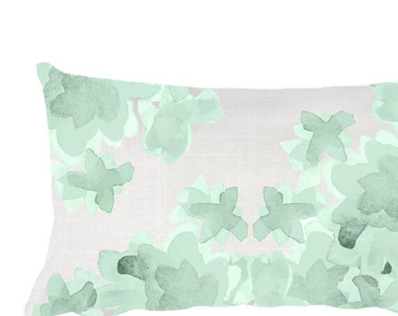 """Mint Flower Pillow for Nursery, 12""""x20"""""""