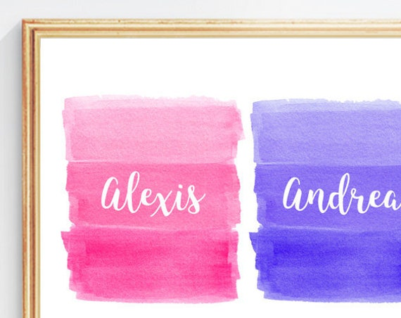 Pink and Purple Girls Room Decor, 8x10 Personalized Watercolor Print