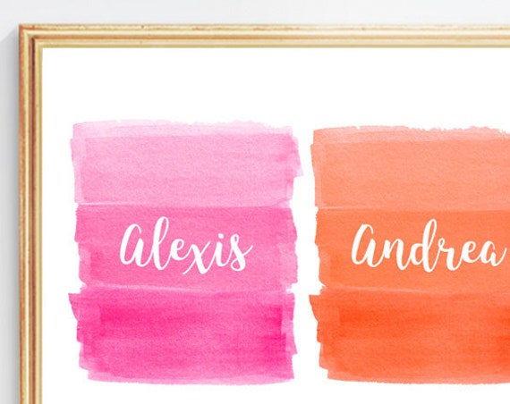 Tropical Brights Wall Decor in Pink and Orange, 8x10 Personalized Print