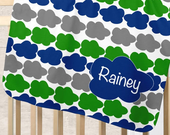 Boys Cloud Blanket in Blue, Green and Gray Personalized with Name