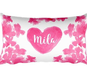 Girls Pillow, 12x20, Personalized Pillow, Name Pillow, Young Girls Gift, Pink Bedroom, Hot Pink Girls Room, Custom Name Pillow