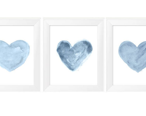 Blue Hearts Nursery Print Set, 11x14 Set of 3