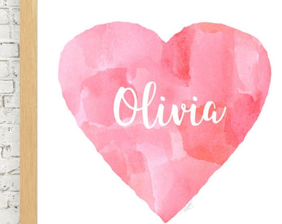 Personalized Pink Abstract Heart Print, 11x14
