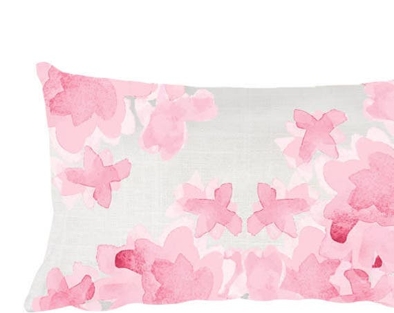 "Nursery Throw Pillow in Pink, 12""x20"""