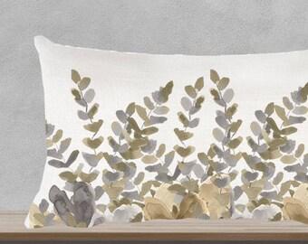 """Fern Pillow, 12""""x20"""", Botanical Pillow, Natural Pillow, Neutral  Pillow, Neutral Sofa Pillow, Lumbar Pillow, Gold and Silver Pillow, Garden"""