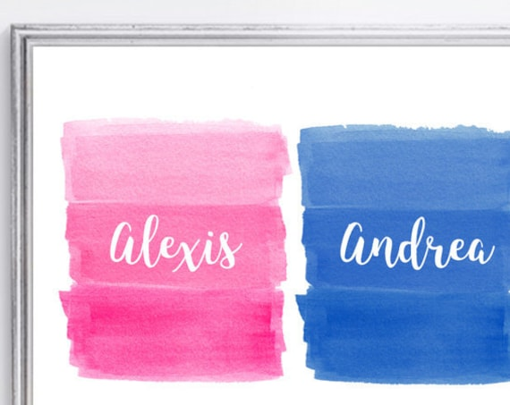 Sister Brother Nursery Print, 8x10, Hot Pink and Blue