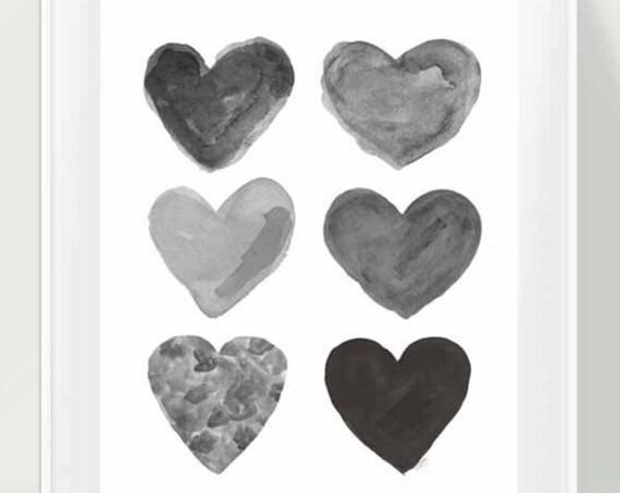 Natural Nursery Print; Black and Gray Watercolor Hearts