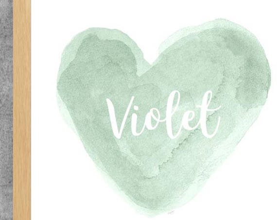 Mint Watercolor Heart with Custom Name, 8x10