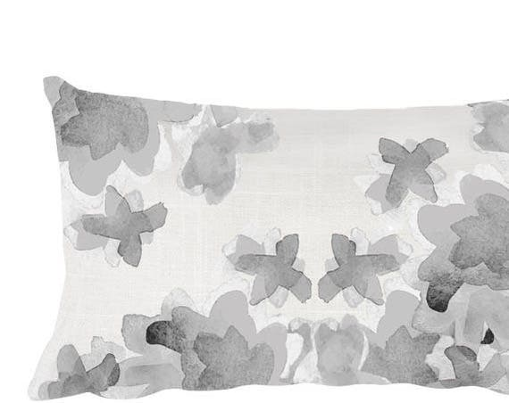 "Gray Watercolor Floral Pillow, 12""x20"""