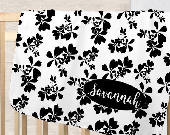 Black and White Nursery Blanket with Floral Print for Contemporary Nursery