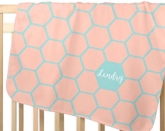 Coral and Aqua Baby Blanket, Personalized Fleece Blanket