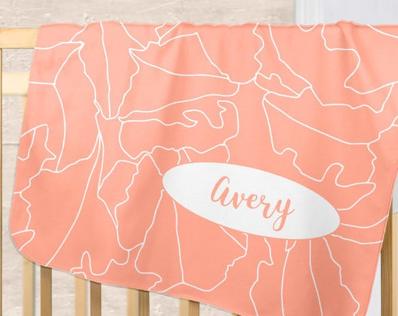 Botanical Blanket in Coral with Personalized Name for Baby Girl
