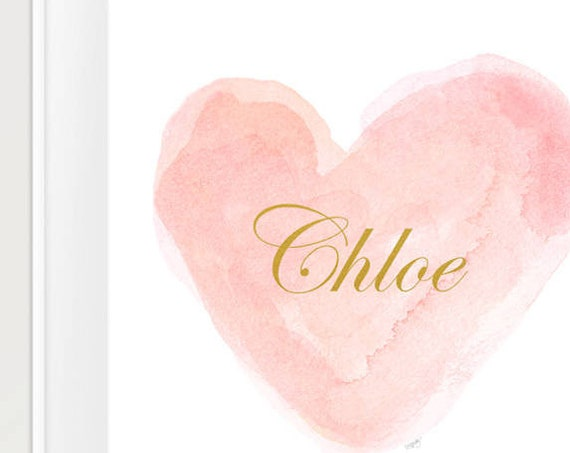 Personalized Baby Gift, 11x14 Blush and Gold Print with Name