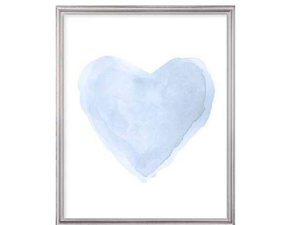 Pale Blue Nursery Print, 8x10 Heart Painting