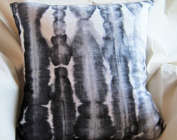 Black Shibori Pillow Cover, 18x18