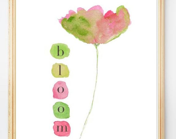 Bloom; Watercolor Flower Print in Pink and Green Print, 8x10