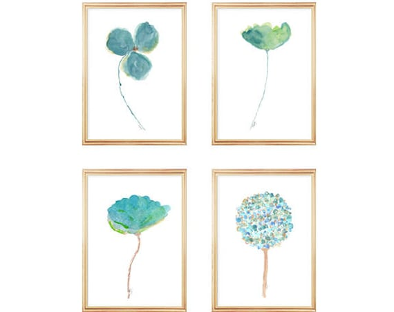 Aqua Watercolor Flowers, 5x7 or 8x10 Set of 4 Prints