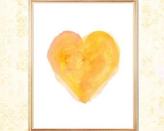 Yellow Heart, 8x10 Watercolor Art Print, Yellow Wall Decor, Yellow Nursery Art, Yellow Orange Decor, Gold Nursery Art, Yellow Wall Decor