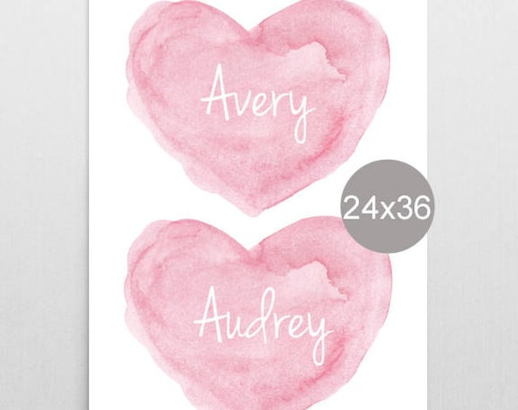 Large Pink Nursery Print for Sisters, 24x36, Personalized