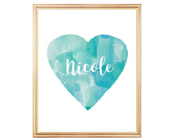 Aqua Nursery Decor, 8x10 Heart Print with Name