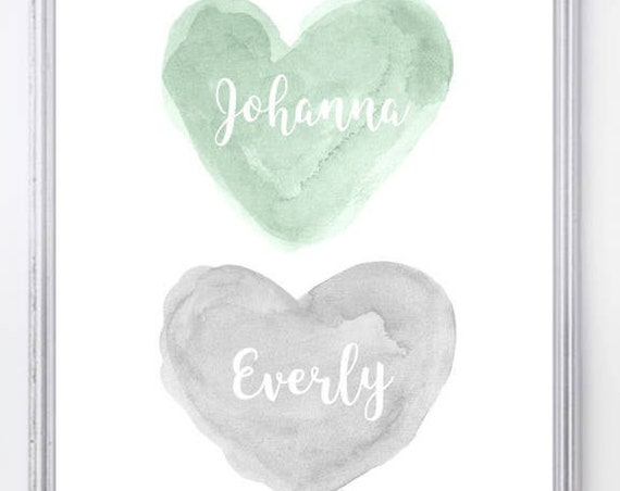 Mint and Gray Nursery Art; Personalized Heart Print with Names