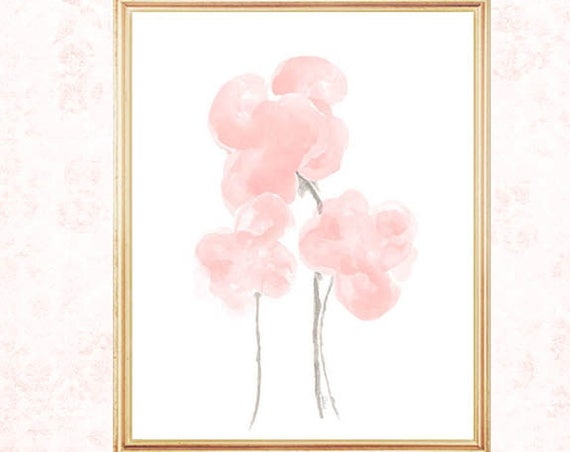 Blush Watercolor Flowers, 8x10 Print