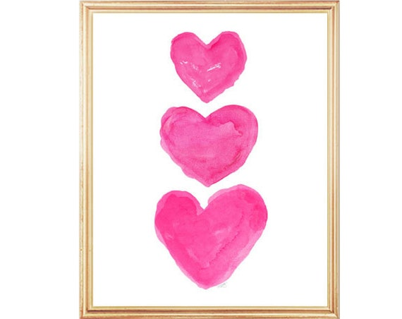 Girls Hot Pink Wall Decor,  5x7, 8x10 Heart Trio