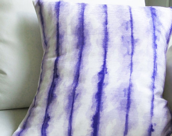 Purple Statement Pillow, 18x18 Shibori Pillow Cover
