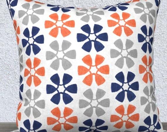 Orange and Navy Children's Pillow