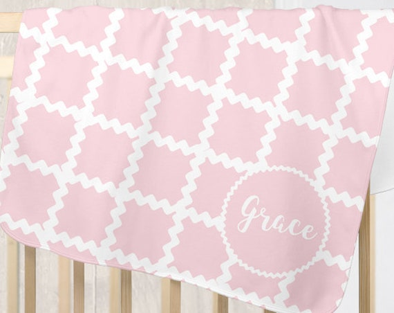Baby Blanket Personalized for Girl with Ric Rac Detailing