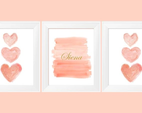 Coral and Gold Personalized Nursery Prints, 11x14, Set of 3