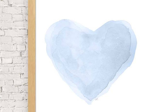 Pastel Blue Heart Nursery Print, 11x14