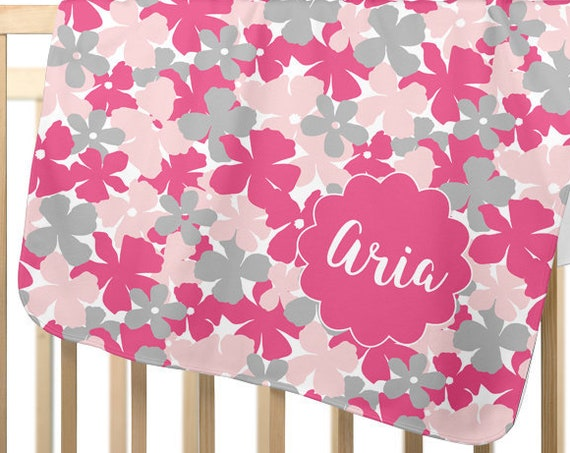 Girls Blanket in Pink and Gray Floral; Personalized with Name