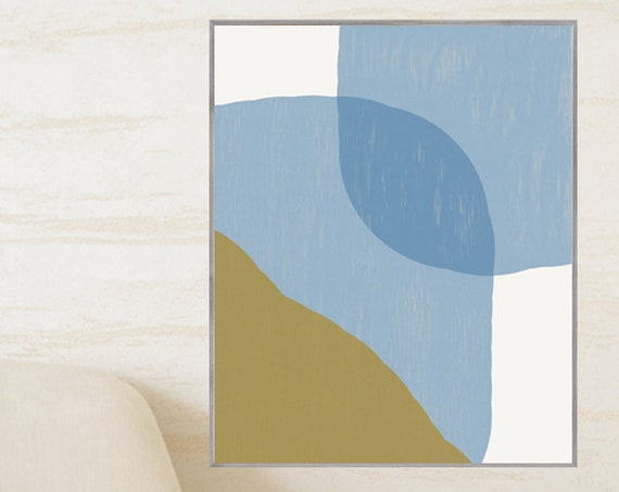 Blue and Gold Art, 16x20 Mid Century Abstract Print