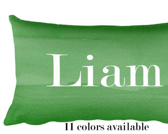 Boys Name Pillow in Emerald Green, 12x20