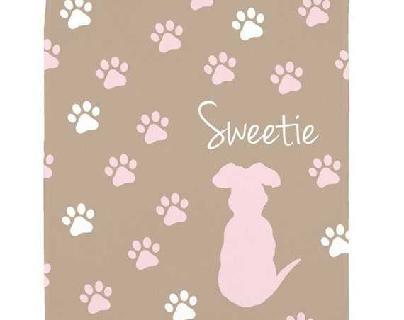Puppy Blanket with Personalized Name in Fleece
