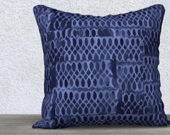 """Indigo Pillow Cover, 14"""" x20"""", 18"""" x18"""""""