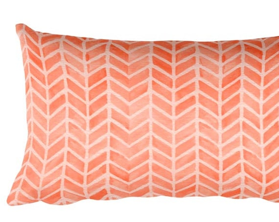 "Coral Throw Pillow with Arrow Pattern, 12""x20"""
