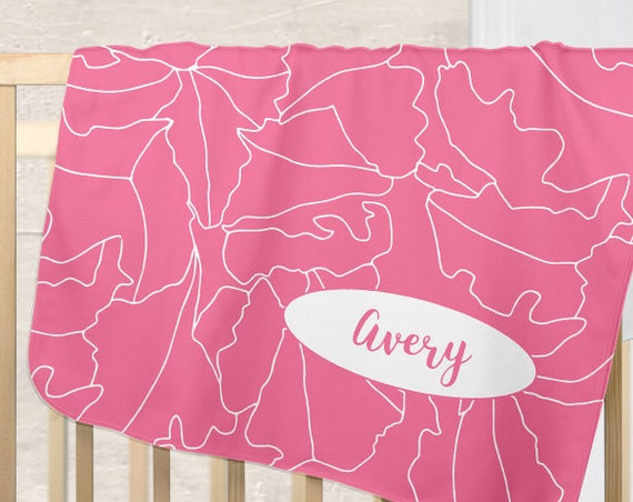 Modern Pink Baby Blanket with Personalized name for Girls