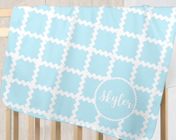Personalized Aqua Baby Blanket with Rac Rac Detailing
