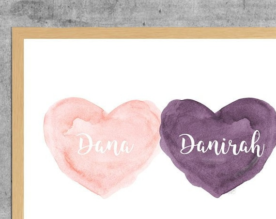 Blush and Purple Personalized Watercolor Heart Print, 11x14