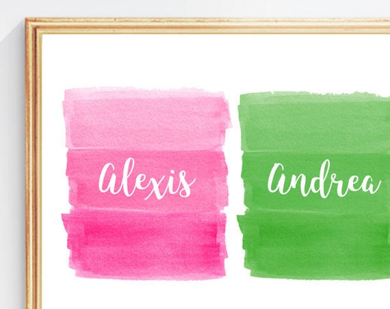 Preppy Girls Room Decor, Pink and Green Personalized  Print, 8x10