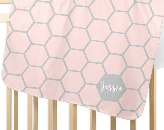 Blush and Gray Baby Blanket for Modern Nursery