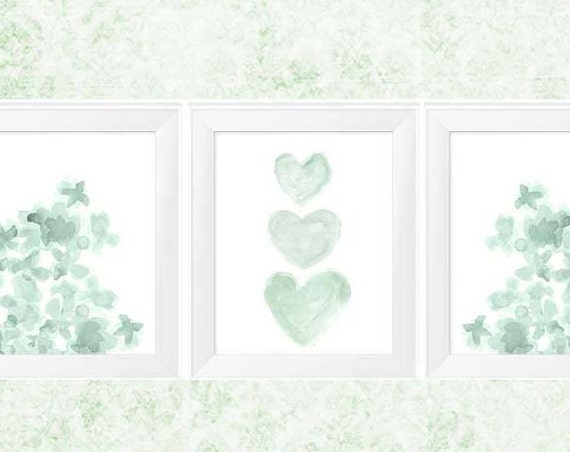 Mint Gallery Wall Prints with Flowers and Hearts, 11x14 Set of 3