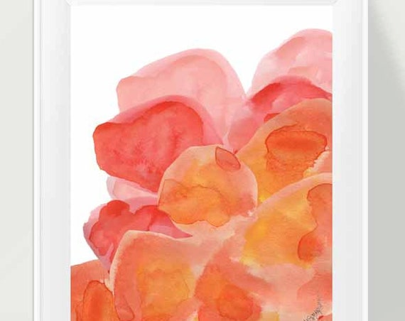 Orange Abstract Flower Painting, 11x14 Print