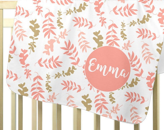 Personalized Baby Swaddle Blanket; Coral Floral Pattern